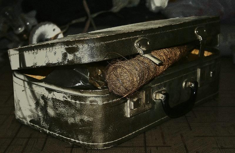 Старый запыленный чемодан в кладовке