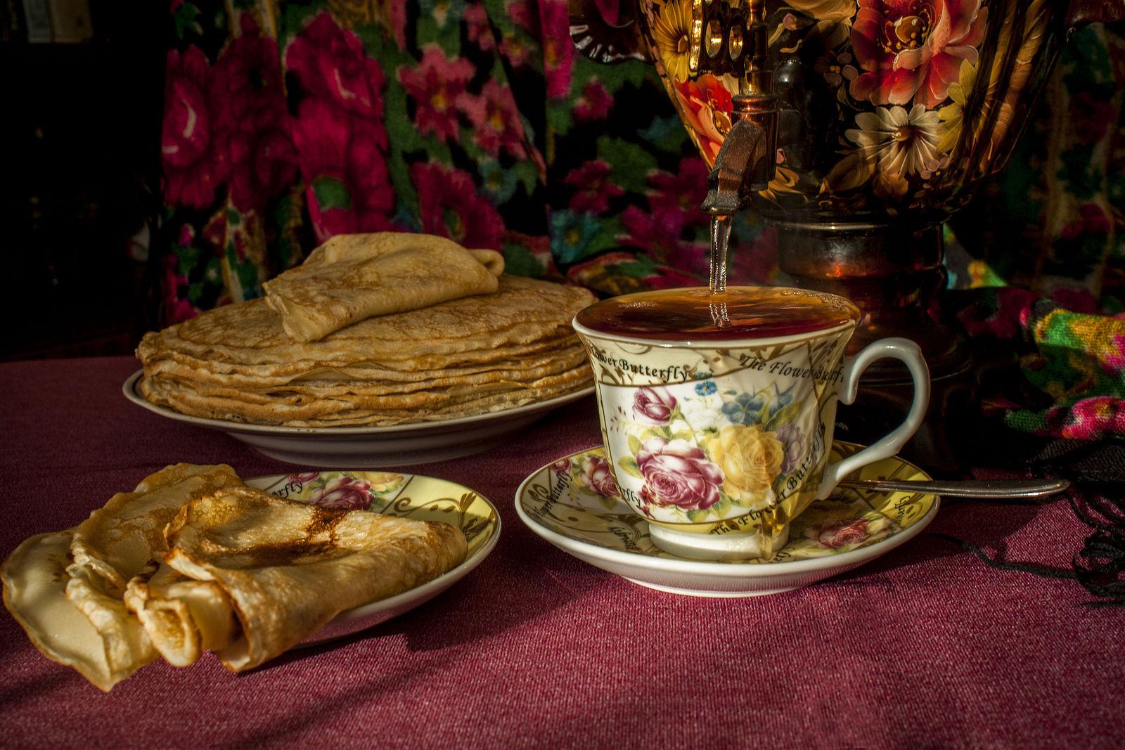 Открытку, открытки чай с блинами