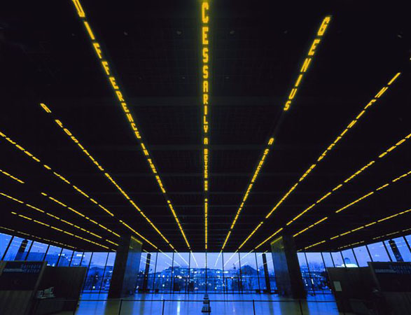 Installation for Neue Nationalgalerie, 2001<br /> 13&nbsp;electronic LED signs with amber diodes<br /> Neue Nationalgalerie, Berlin, Germany<br /> Text (pictured): Oh,&nbsp;2001<br /> &copy; 2008&nbsp;Jenny Holzer, member Artists Rights Society (ARS), NY.<br /> Photo: Attilio Maranzano<br /> Courtesy by&nbsp;Galerie Monika Sprьth Philomene Magers, Cologne, Munich, London