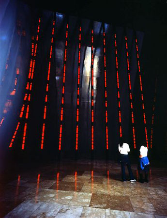 Installation for the Guggenheim Museum Bilbao, 1997<br /> 9&nbsp;double-sided electronic LED signs with red and blue diodes<br /> Museo Guggenheim Bilbao, Bilbao, Spain<br /> Text (pictured): Arno, 1996<br /> &copy; 2008&nbsp;Jenny Holzer, member Artist Rights Society (ARS), NY.<br /> Photo: Attilio Maranzano<br /> Courtesy by&nbsp;Galerie Monika Sprьth Philomene Magers, Cologne, Munich, London