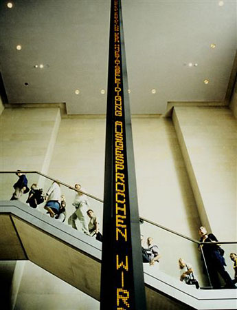 Installation for the Reichstag, 1999<br /> Bundestag, Berlin, Germany<br /> Four-sided electronic LED sign with amber diodes<br /> Text (pictured): from a&nbsp;selection of&nbsp;historic German Parliamentary speeches<br /> &copy; 2008&nbsp;Jenny Holzer, member Artists Rights Society (ARS), NY.<br /> Photo: Uwe Walter<br /> Courtesy by&nbsp;Galerie Monika Sprьth Philomene Magers, Cologne, Munich, London