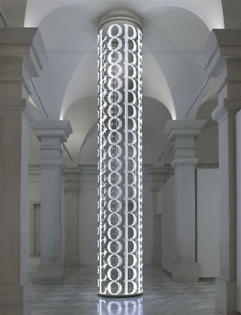 For SAAM, 2007<br /> Cylindrical electronic LED sign with white diodes<br /> The Smithsonian American Art Museum, Washington, D. C., USA<br /> Text (pictured): Survival, 1983-85<br /> &copy; 2008&nbsp;Jenny Holzer, member Artists Rights Society (ARS), NY.<br /> Photo: Gene Young<br /> Courtesy by&nbsp;Galerie Monika Sprьth Philomene Magers, Cologne, Munich, London