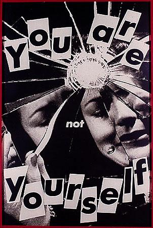 <p>Barbara Kruger<br /> Untitled (You are not yourself)<br /> 1982<br /> <br /> Black-<nobr>and-white</nobr> photograph, 72×48in. (182.9×121.9cm).<br /> Collection Per Skarstedt, New York</p>