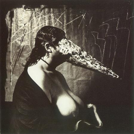 © Joel-Peter Witkin<br /> Woman breast feeding an ael, 1979