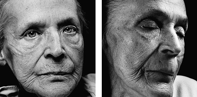 <p><b>Уолтер Шелс</b></p> <p><b>Клара Беренс</b><br /> возраст: 83<br /> родилась: 2декабря 1920<br /> первый портрет сделан 6февраля 2004<br /> умерла 3марта 2004</p> <p>Клара Беренс понимает, что жить ейосталось нетак много. «Иногда явсе еще надеюсь выздороветь,»— говорит она. «Новтемоменты, когда становится действительно плохо, ябольше нехочу продолжать жить. Иятолько что купила новый холодильник! Если быятолько знала…»<br /> Сегодня последний день февраля, светит солнце, первые колокольчики расцвели всаду. «Ябыочень хотела выйти наулицу ипрогуляться вдоль реки Эльбы. Посидеть накаменистом берегу, опустив ноги вводу. Мывсегда так делали, когда были детьми иходили собирать креке хворост. Если быямогла прожить жизнь снова, ябывсе сделала <nobr>по-другому</nobr>. Новозможно липолучить еще один шанс вжизни, Недумаю.В конце концов, тыверишь только вто,что видишь. Итывидишь только то,что здесь. Янебоюсь смерти. Ябуду всего лишь одной измиллионов, биллионов песчинок впустыне. Ноединственное, что меня пугает— это процесс смерти. Япросто незнаю, что насамом деле происходит».</p>