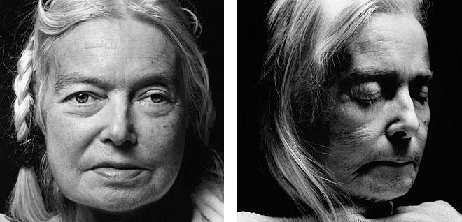 <p><b>Уолтер Шелс</b></p> <p><b>Эдельгард Клайви</b><br /> возраст: 67<br /> родилась 29июня 1936<br /> первый портрет сделан 5декабря 2003<br /> умерла 4января 2004, вХосписе Хелененстифт вГамбурге</p> <p>Эдельгард Клайви работала административным помощником вуниверситетской психиатрической клинике. Она жила одна смомента развода вначале восьмидесятых, иунее нет детей. Еще, будучи подростком, она стала активным членом Протестантской церкви.В последние несколько недель она полностью привязана кпостели. «Смерть— это тест назрелость. Икаждый проходит его водиночку»,— говорит Фрау Клайви. «Ятак хочу умереть истать частью этого необыкновенного света. Ноумирание— это трудная работа. Смерть управляет всем процессом, иянемогу оказывать влияния наего течение. Все, что ямогу,— это ждать. Мне была дана жизнь, иядолжна была еепрожить, атеперь яееотдаю назад. Явсегда много работала, следуя пути монахини: бедность, целомудрие, смирение. Теперь яуже немогу принести пользу обществу, иэто мне причиняет невыносимую боль. Янехочу обременять общество, быть живым трупом, обузой. Яхочу уйти, лучше всего мгновенно. Тыдолжен быть всегда готов, как бой скаут».</p>
