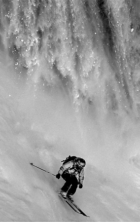 1st prize Sports Action Singles<br /> <b>Ivaylo Velev</b>, Bulgaria, Bul X Vision Photography Agency <br /> <i>Freeride competitor Philippe Meier chased by an avalanche, Flaine, France, 15 March</i>