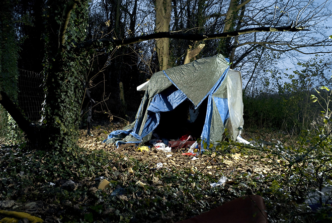 1st prize Contemporary Issues Stories<br /> <b>Jean Revillard</b>, Switzerland, Rezo.ch<br /> <i>Makeshift huts of immigrants, Calais, France</i>