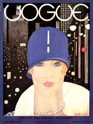 Lee Miller first appeared in Vogue on its March 15, 1927 cover by Georges Lepape
