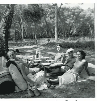 Surrealists Pual Éluard, Roland Penrose, Man Ray, and friends shot by Lee MIller near Cannes, 1937