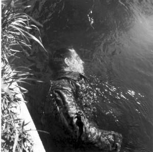 Dead SS Guard floating in canal Dachau