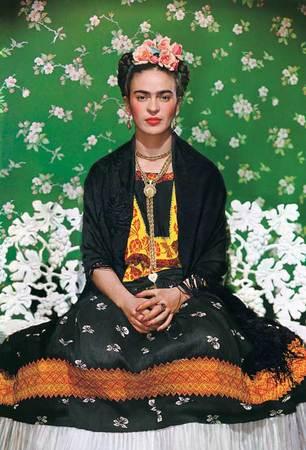 Nickolas Muray, 1892-1965. American (b. Hungary). Frida on White Bench, New York. 1939,Carbon process print