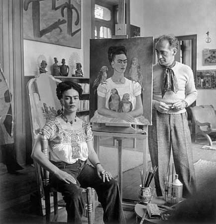 Nickolas Muray, 1892-1965. American (b. Hungary). Frida with Nick in her Studio, Coyoacán. 1941, Silver gelatin print
