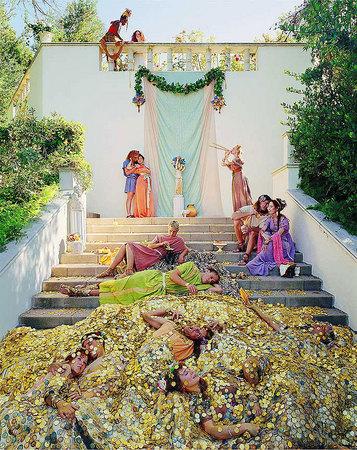 "Eleanor Antin.  ""The Golden Death"" from ""The Last Days of Pompeii"". 2001. Chromogenic print, 58 5/8 x 46 5/8 inches. Courtesy Ronald Feldman Fine Arts, New York"