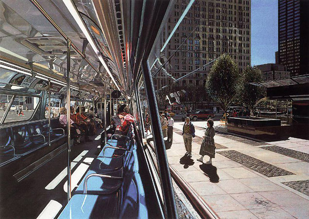 Richard Estes «Autobus de Broadway en la calle Liberry»