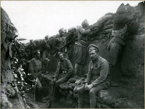 <p>Чехословацкие добровольцы вокопах под Зборовом. 1917г.</p>