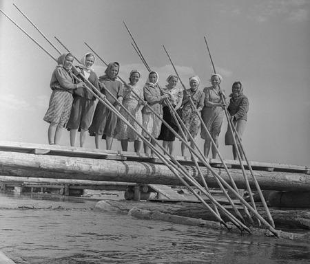 Виктор Ахломов<br /> «Работницы Кондинского леспромхоза. Тюмень »<br /> 1964 <br /> Собрание автора