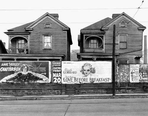 Walker Evans. Houses  and Billboards, Atlanta.  1936. 8 x 10 in.