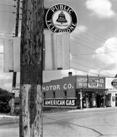 Walker Evans. Gas station, Reedsville, West Virginia.  1935. 8 x 10 in.