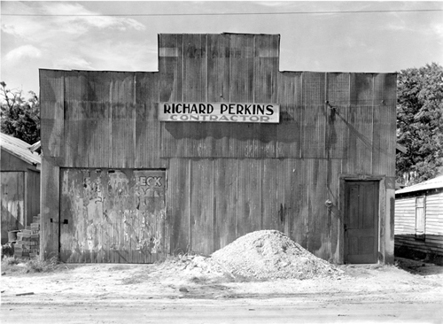 Walker Evans. Corrugated Tin Façade.  1936.  8 x 10 in.  Carbon Pigment Print.  Edition of 140