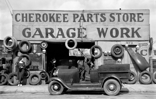 Walker Evans. Garage in southern city outskirts.  1936. 8 x 10 in.  Carbon Pigment Print.  Edition of 140