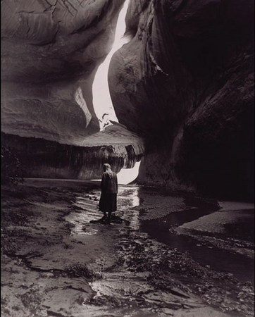 Todd Webb (United States, 1905–2000), Georgia O'Keeffe in Twilight Canyon, 1964, gelatin silver print, 12 x 9 1/2 inches. Courtesy of Evans Gallery, Portland, Maine.