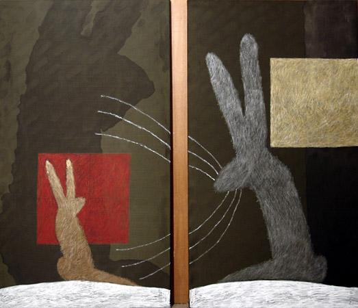 Никита Алексеев<br /> «Учитель и ученик (Дождливый день)» 2007<br /> шелк, ПВА, тушь, масляная пастель, 170 х 95 см (каждая часть)
