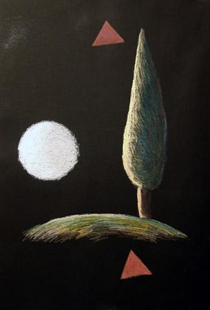 Никита Алексеев<br /> Из серии «Черные полотенца для карачохели» 2006<br /> бумага, масляная пастель, 105 х 75 см