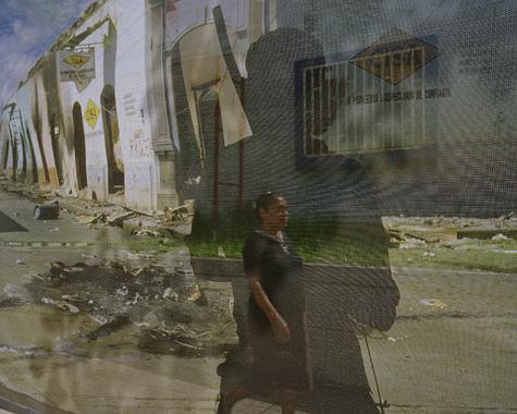 """Susan Meiselas. Return to Masaya, Nicaragua, July 2004, from the """"Reframing History"""" series, 2004. © Susan Meiselas/Magnum"""