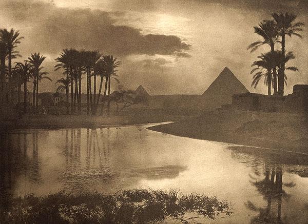 Evening Near Pyramids <br /> Ashton, Ernest R., b.1867-1951<br /> Camera Notes Vol. 2 No. 1, 1898<br /> 16.4 x 12 cm<br /> Photogravure