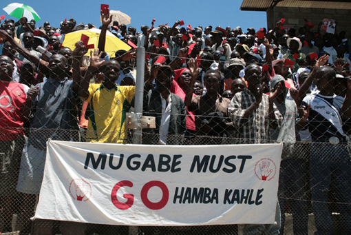 Opposition Campaign Rally, Mutare, Zimbabwe, 2008. Photographer: Annie Mpalume.