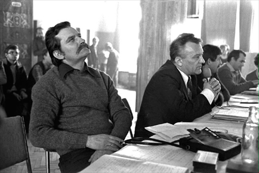Lech Walesa at a Solidarity Meeting, Gdansk, Poland, 1981. Photographer: Arthur Grace.
