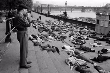 Ban the Bomb enactment showing casualties, London, 1962 Philip Jones Griffiths/Magnum Photos. 