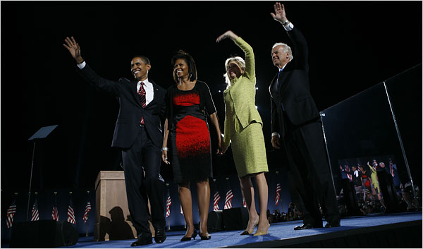 Senator Barack Obama with his wife, Michelle, and Senator Joseph R. Biden Jr. with his wife, Jill, in Chicago on Tuesday night. Damon Winter/The New York Times