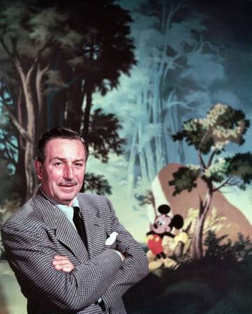 Walt Disney posing against landscape backdrop containing Mickey Mouse.