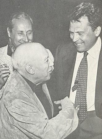 Сергей Урусевский и Пабло Пикассо после просмотра фильма &laquo;Летят журавли&raquo;<br />1958