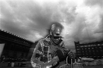 Protest by organizations of blind merchants in Plaza de la Constitucion, Mexico City, 1993. (Marco A. Cruz)