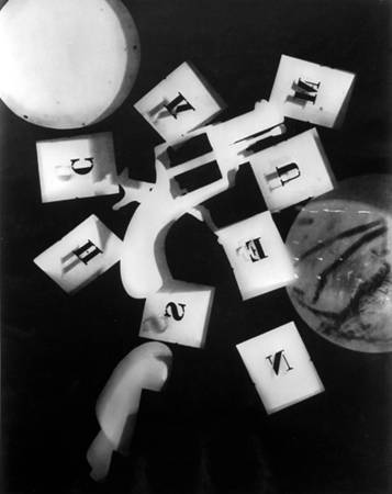 Rayography gun with alphabet. 1925