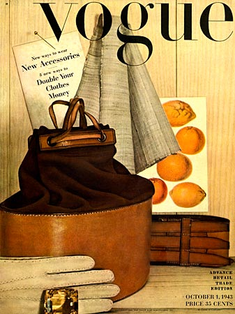 Первая обложка журнала Vogue в исполнении Ирвина Пенна (октябрь 1943 года)