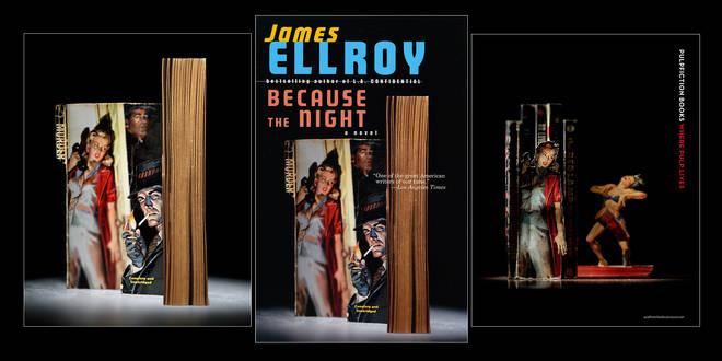 Слева - оригинал Томаса Аллена. В центре - обложка книги Джеймса Эллроя, для создания которой использована фотография Аллена. Справа - один из постеров рекламной кампании Pulpfiction Books.