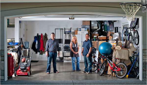 From left, Steve Stone, Megan Kahn and Carlo Martin in the garage where they started Infoflows. © Stuart Isett for The New York Times