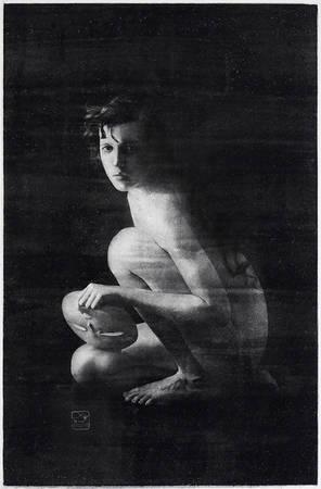 Максим Железняков. «Маска». Oilprint (Масляный процесс)<br /> Акварельная бумага<br /> Размер отпечатка 46x31см<br /> Авторский отпечаток в тираже - 2/5<br /> 2005г.