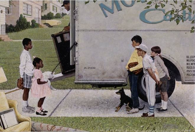 Norman Rockwell (American, 1894–1978). New Kids in the Neighborhood, 1967. Look magazine, May 16, 1967. Tear sheet, 13 x 20Ѕ in. (33 x 52.1 cm). Norman Rockwell Museum Archival Collections. Norman Rockwell Licensing, Niles, Illinois