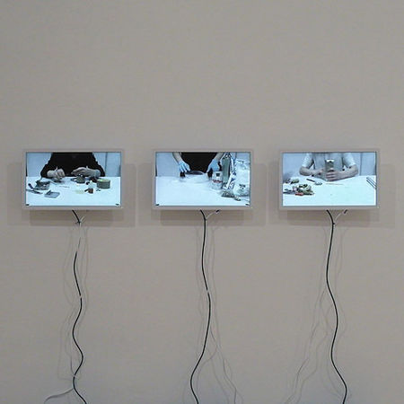 Sasha Auerbakh Manual 2009 3-channel video installation, looped In co-operation with Valya Fetisov