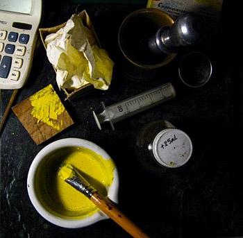 Замешивание желтой светочувствительной эмульсии