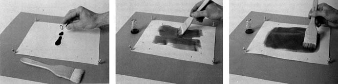 Схема покрывания бумаги сенсибилизирующим раствором (W.Crawford)