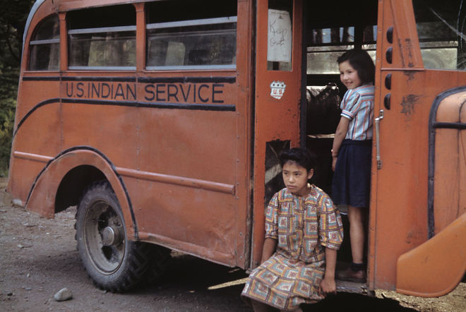 Ruth Gruber, U.S. Indian Service bus, Ward Cove, Alaska, 1941-43. © Ruth Gruber.