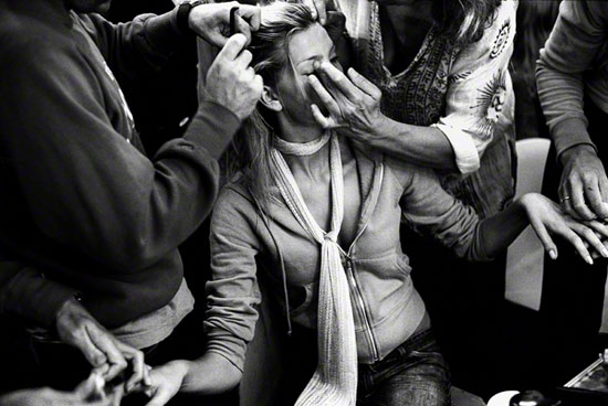 Backstage at the Paul Smith Women fashion show, London, UK, September 13th, 2002.