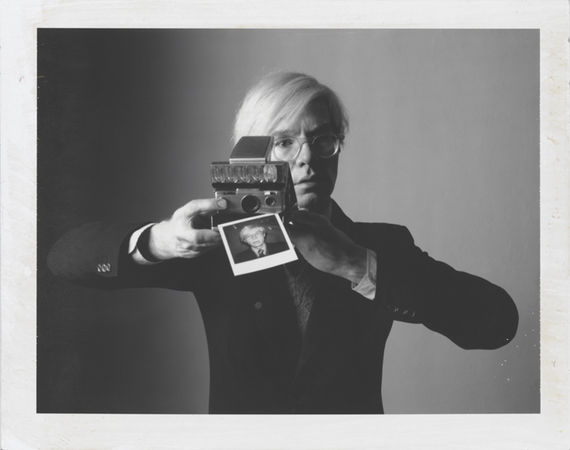"Oliviero Toscani Andy Warhol with camera. 1974, Polaroid Type 105. 3ј x 4ј"". © Oliviero Toscani"