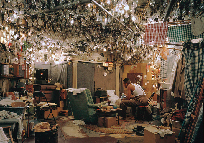 Jeff Wall. After 'Invisible Man' by Ralph Ellison, the Prologue 1999�2000 Transparency in lightbox 1740 x 2505 mm